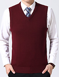 cheap -Men's Pullover Knitted Braided Solid Color Basic Wedding Acrylic Fibers Sleeveless Sweater Cardigans V Neck Fall Spring Purple Wine Army Green