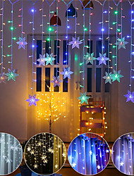 cheap -3.5M Christmas Decoration Colorful Snowflake LED Fairy String Light 96 LED Flashing Curtain Light Waterproof Outdoor Holiday Party Connectable Wave Flexible Lights Christrmas Gift AC 100V-240V