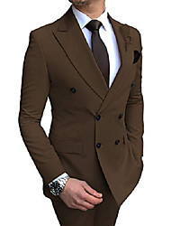 cheap -men's slim fit 2 piece men suit double-breasted wedding suits groom tuxedos(blazer+pant)(coffee,50)