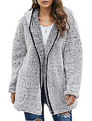 povoljno -ženski ugodni topli flis široki otvoreni prednji dugi rukav povremeni jednobojni mutni pahuljasti šerpa duksevi modni kardigani kaputi jakne pulover vanjska odjeća s džepovima siva srednja