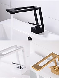 cheap -Single Handle Bathroom Faucet, Electroplated/Brushed One Hole Hollow Out/Irregular/Centerset, Brass Contemporary Bathroom Sink Faucet Contain with Supply Lines