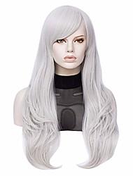 "cheap -26"" long straight side bang costume women wig (silver)"
