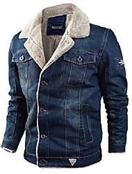 cheap -men's winter lapel collar fleece-lined button-up denim trucker jacket coat (x-small, dark blue)