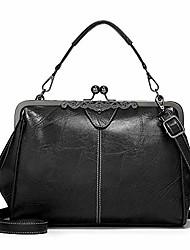 cheap -vintage kiss lock handbags for women oil leather evening clutch satchel purse tote, wine, 1