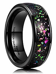 cheap -nature tungsten carbide ring engagement wedding band abalone shell inlay polished finish step edge 10