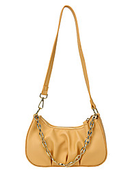 cheap -Women's Bags PU Leather Top Handle Bag Baguette Bag Chain Handbags Daily White Black Yellow Brown