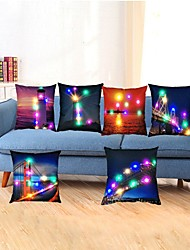 cheap -6pcs Led  Night City Pillow Cushion Office Car Sofa Cushion Cover 3AA Batteries not included