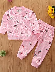 cheap -Kids Girls' Clothing Set Print Long Sleeve Cotton Casual Black Blushing Pink Basic Regular Regular