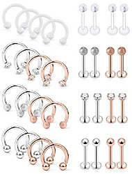 cheap -32pcs surgical steel lip rings clear diamond cz labret studs tragus horseshoe ring helix hoop earring body jewelry piercing retainer for women men 16 gauge silver rose gold