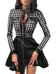 cheap -Women's A-Line Dress Short Mini Dress - Long Sleeve Houndstooth Pocket Print Spring Fall Vintage 2020 White Black Blue S M L XL