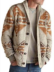 cheap -Men's Knitted Geometric Cardigan Acrylic Fibers Long Sleeve Sweater Cardigans Shirt Collar Fall Winter Khaki