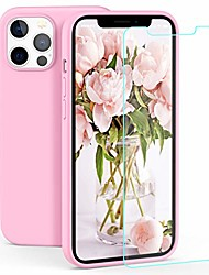 cheap -case compatible with iphone 12 / iphone 12 pro, liquid silicone rubber gel case with screen protector(pink)