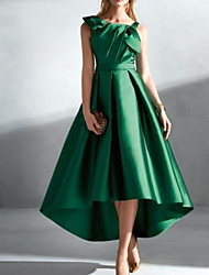 cheap -A-Line Elegant Vintage Wedding Guest Prom Dress Jewel Neck Sleeveless Asymmetrical Satin with Pleats 2021