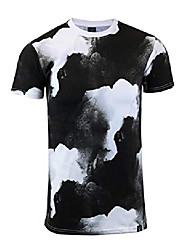 cheap -brand-s11012 mens hipster hip-hop premium tee - luxury tie dye multicolor longline retro print t-shirt-black-xlarge