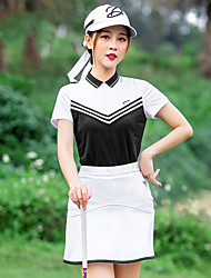 cheap -Women's Golf Polo Shirts Short Sleeve Breathable Quick Dry Soft Sports Outdoor Autumn / Fall Spring Summer Cotton Black / Stretchy