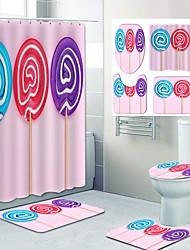 cheap -Cute Lollipop Pattern PrintingBathroom Shower Curtain Leisure Toilet Four-Piece Design