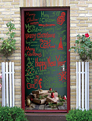 cheap -Christmas Self-adhesive Creative Door Stickers Living Room Diy Decoration Home Waterproof Wall Stickers