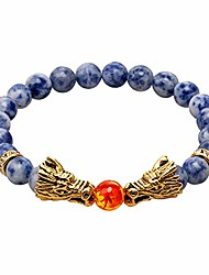 cheap -vintage gold plated dragon charm bracelet head 8mm beads chakra rock onyx prayer bracelet