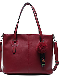 cheap -Women's Bags PU Leather Tote Top Handle Bag Zipper Daily Bag Sets Handbags Black Blue Red