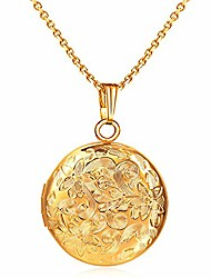cheap -locket necklace that holds pictures flower lockets necklaces pendant 18k gold plated gifts for women girl (round gold locket)