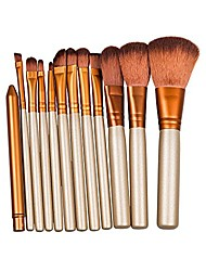 cheap -12pcs makeup brush set golden for kabuki powder foundation blush