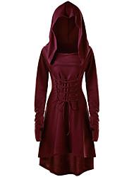 cheap -Halloween Women's A-Line Dress Knee Length Dress - Long Sleeve Print Print Fall Hot Vintage Party Flare Cuff Sleeve Loose 2020 Purple Wine M L XL XXL 3XL