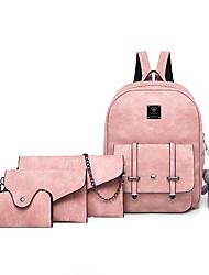 cheap -Women's Bags PU Leather Bag Set 4 Pieces Purse Set Zipper Daily Bag Sets Backpack Handbags Black Blushing Pink Light Gray Coffee
