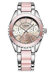 cheap -luxury sports casual imitation ceramic and alloy bracelet waterproof women's quartz wristwatch
