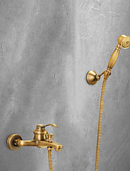 cheap -Shower Faucet Set - Rainfall Antique Antique Brass Tub And Shower Brass Valve Bath Shower Mixer Taps