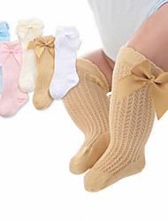 cheap -Toddler Girls' Underwear & Socks White Yellow Blushing Pink White Blue Solid Colored Mesh Bow