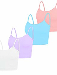 cheap -4 pack spaghetti strap camisole top adjustable strap tank crop tops for women girls