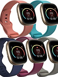 """cheap -5 pack surundo versa 3 bands compatible with fitbit sense & fitbit versa 3 for women men, replacement sport wristband accessories straps for fitbit sense watch, small size fits for 4.1"""" - 8.1"""""""