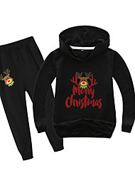 cheap -Kids Boys' Active Christmas Daily Wear Santa Claus Print Letter Patchwork Print Long Sleeve Regular Clothing Set Black
