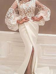 cheap -Women's Sheath Dress Maxi long Dress White Long Sleeve Solid Color Split Mesh Lace Fall Turtleneck Sexy Flare Cuff Sleeve 2021 S M L XL XXL