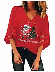 cheap -womens 3/4 bell sleeve v neck lace patchwork blouse casual loose christmas santa claus shirt tops red