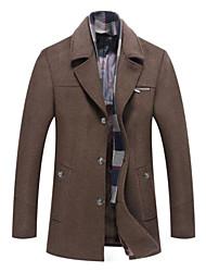 cheap -Men's Solid Colored Fall & Winter Coat Long Daily Long Sleeve Wool Blend Coat Tops Khaki