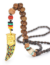 cheap -Men's Women's Pendant Necklace Beaded Necklace Drop Friends Precious Joy Gemini Lucky Ethnic Fashion Vintage Punk Wooden Resin Alloy Gold 80 cm Necklace Jewelry 1pc For Christmas Halloween Party