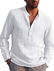 cheap -mens cotton linen henley shirt summer basic long sleeve beach tops casual loose fit plain solid shirts