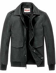 cheap -men vintage leather jacket casual bomber faux leather outwear jackets black
