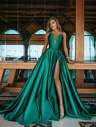 cheap -Women's A Line Dress Maxi long Dress Green Sleeveless Solid Color Fall Strapless Elegant Formal 2021 S M L XL XXL