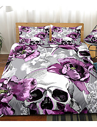 cheap -Purple Skull Print 3-Piece Duvet Cover Set Hotel Bedding Sets Comforter Cover with Soft Lightweight Microfiber(Include 1 Duvet Cover and 1or 2 Pillowcases)