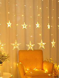 cheap -LED Christmas Decoration 12 Stars Curtain Lights 150 LEDs Window Icicle Christmas Lights 8 Modes Backdrop Fairy String Lights for Outdoor Indoor Home Bedroom Wedding Party Holiday Wall