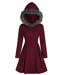 cheap -Women's Solid Colored Active Fall & Winter Coat Long Daily Long Sleeve Polyster Coat Tops Black