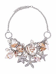 """cheap -shell necklaces summer sea shell starfish faux pearl necklaces statement chunky beach women necklace collar pendant mermaid costume necklace, 16"""" long"""