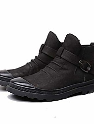 cheap -ankle boots for men high top oxford monk strap round toe genuine leather slouchy vamp solid color (color : black, size : 38 eu)