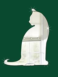 cheap -DIY 3D Mirror Wall Sticker Cat 3D Effect Stickers Mural DIY Removable Decal Art Mural Art DIY