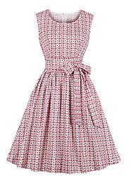 cheap -Women's A-Line Dress Knee Length Dress - Sleeveless Floral Print Spring Fall Elegant Vintage Cotton 2020 Blushing Pink S M L XL XXL 3XL 4XL