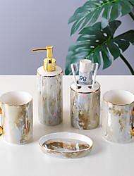 cheap -Bathroom Accessories Set 4-Piece Ceramic Complete Bathroom Set for Bath Decor Includes Toothbrush Holder Soap Dispenser Soap Dish 2 Mouthwash Cup  Holiday Bathroom Decoration Gift Idea