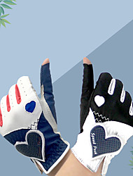 cheap -Golf Glove Golf Fingerless Gloves Women's Anti-Slip UV Sun Protection Breathable PU Leather Lycra Training Outdoor Competition Black Dark Blue / Sweat wicking