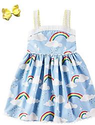 cheap -baby girls rainbow dress summer beach strap dress skirt with hairbow (blue, 5t-6t)